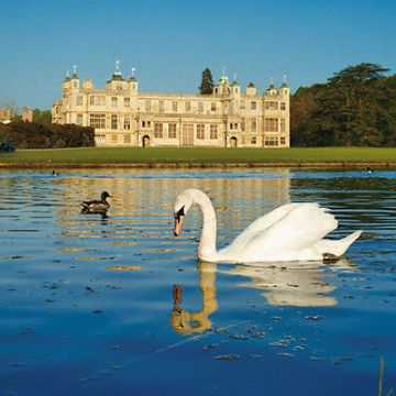 "BLANK CARD ""LAKE @ AUDLEY END HOUSE"" LARGE SQUARE SIZE 6.25"" x 6.25"" EHII 2088"
